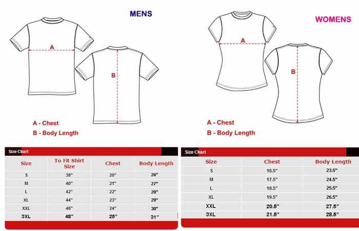 HVK TShirts Size Chart